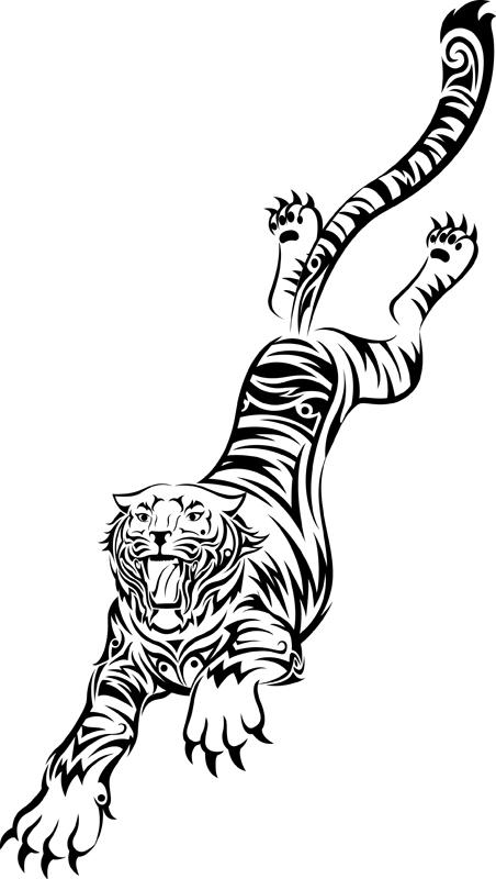 tribal running asian tiger tattoo design. Black Bedroom Furniture Sets. Home Design Ideas