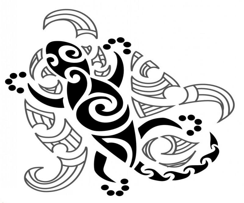 Tribal spiral lizard tattoo design