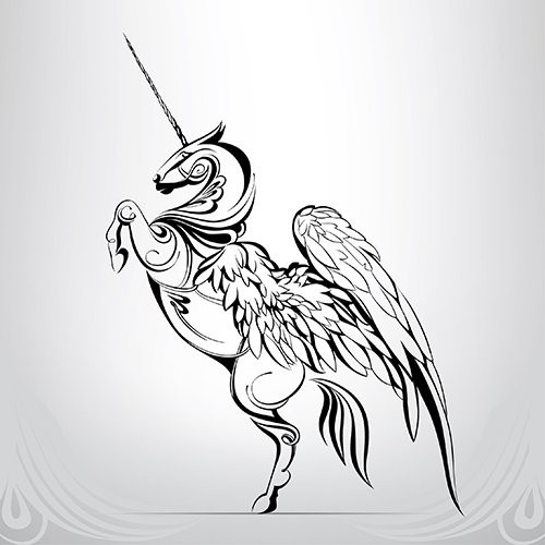Tribal unicorn with huge angel wings tattoo design