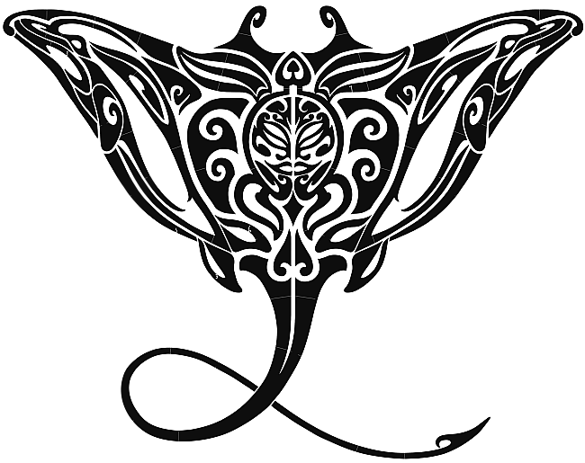 Tribal water animal with sharp tail tattoo design