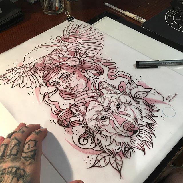 True eagle gypsy girl and wolf friendship tattoo design