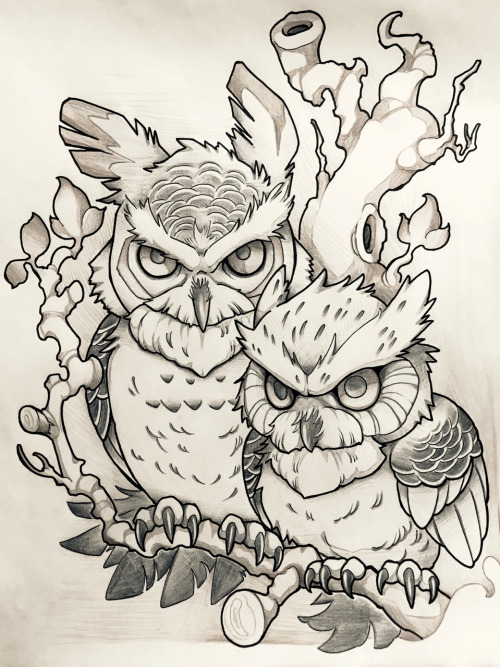 True owl friendship tattoo design