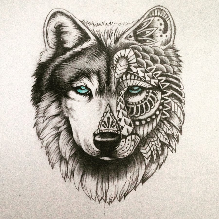 Turquoise Eyed Half Patterned Wolf Tattoo Design Tattooimagesbiz