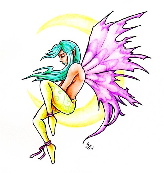 Turquoise-haired fairy with pink wings and yellow stockings tattoo design by Hamdoggz