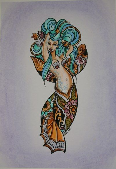 Turquoise-haired mermaid with golden folk-patterned tail tattoo design