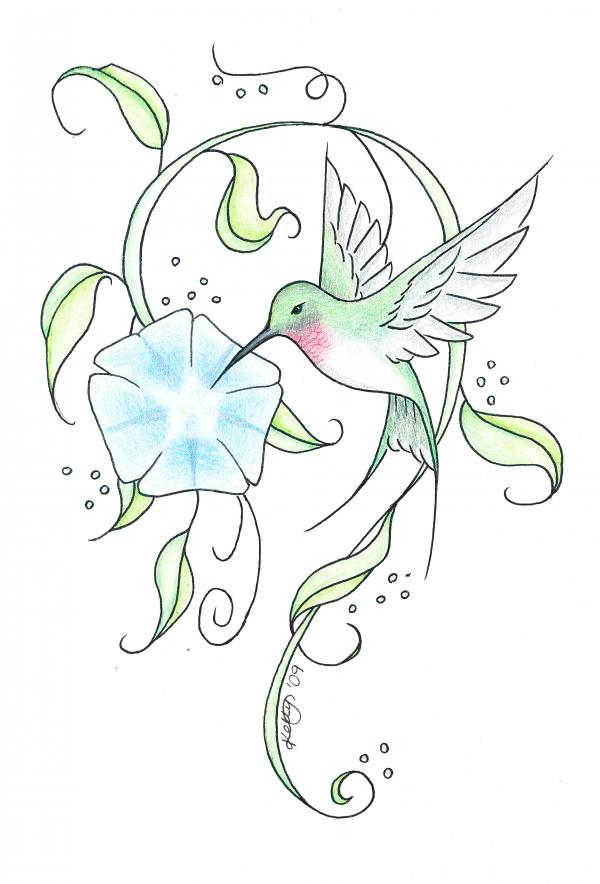 Turquoise hummingbird sniffing a blue flower tattoo design