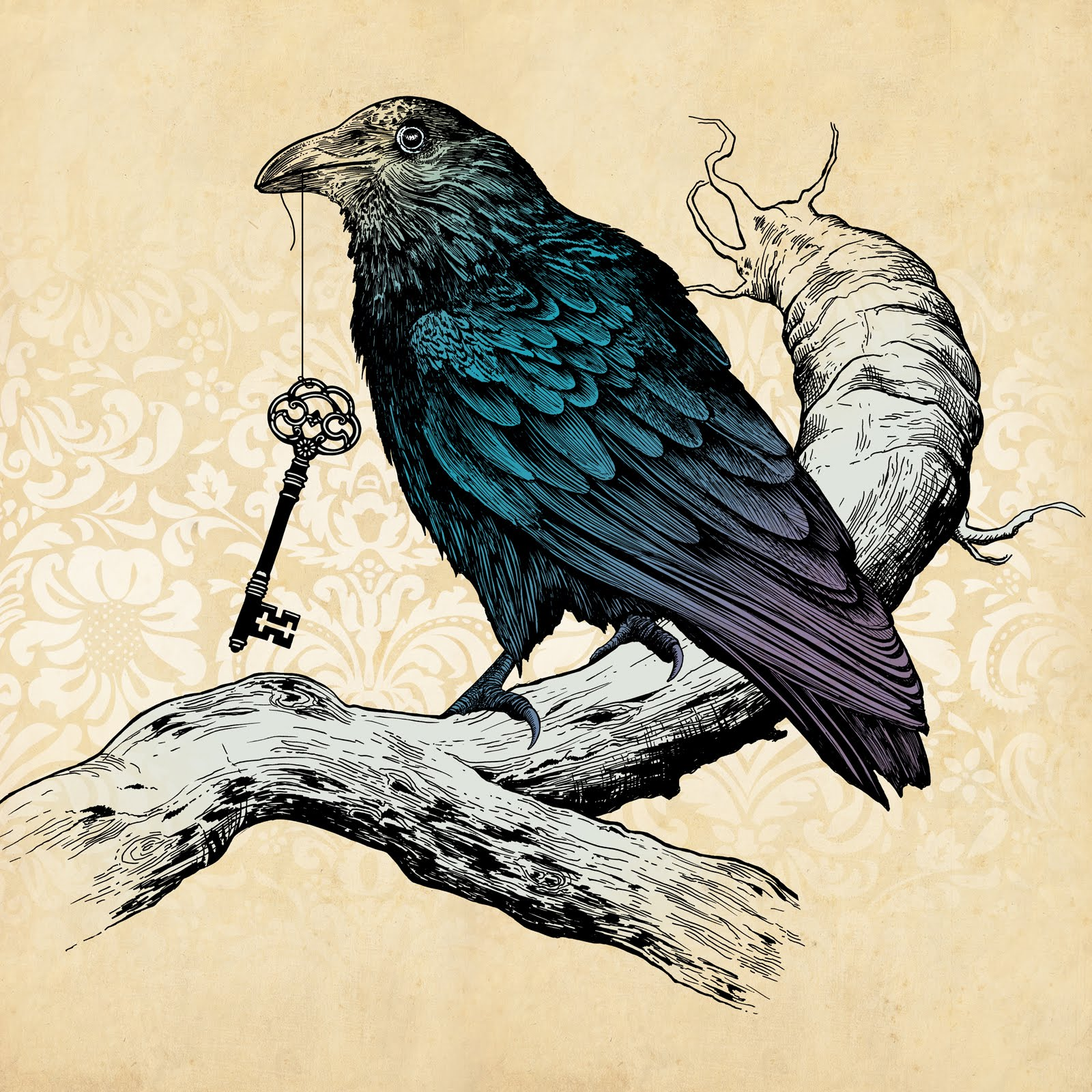Turquoise raven keepinh a key on tree branch tattoo design