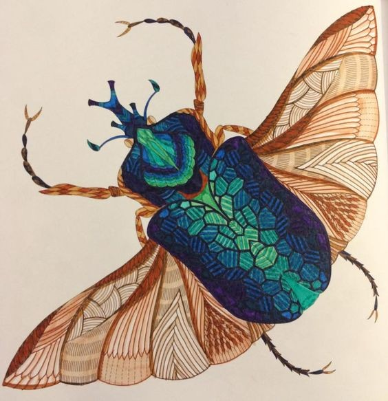 Turquoise scaled testa bug with brown wings tattoo design