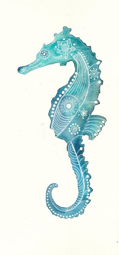 Turquoise seahorse with white flower print tattoo design
