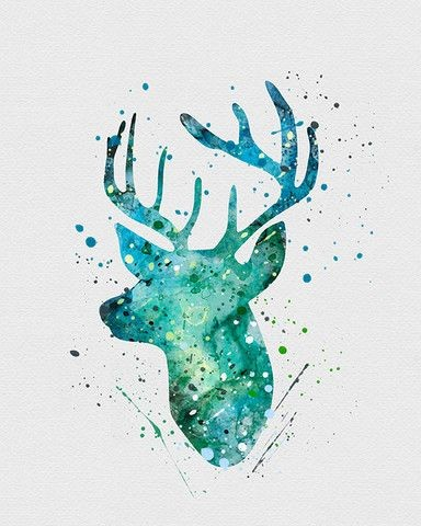 Turquoise watercolor deer head in splashes tattoo design