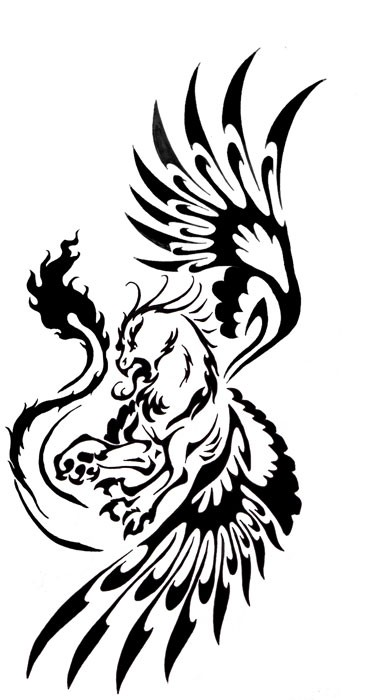Twisted black tribal griffin tattoo design by Echofactor42
