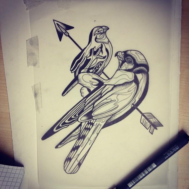 Two birds pierced with arrow tattoo design