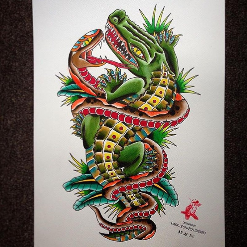 Two colorful old school reptile fight tattoo design