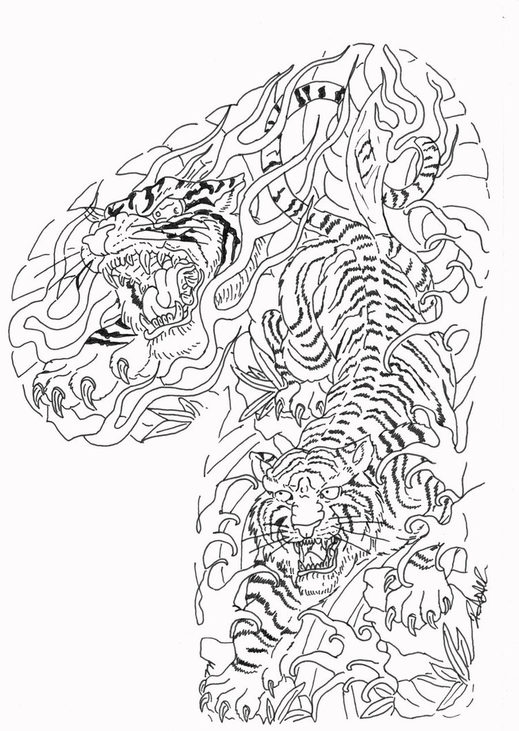 Two uncolored tigers in tree branches tattoo design