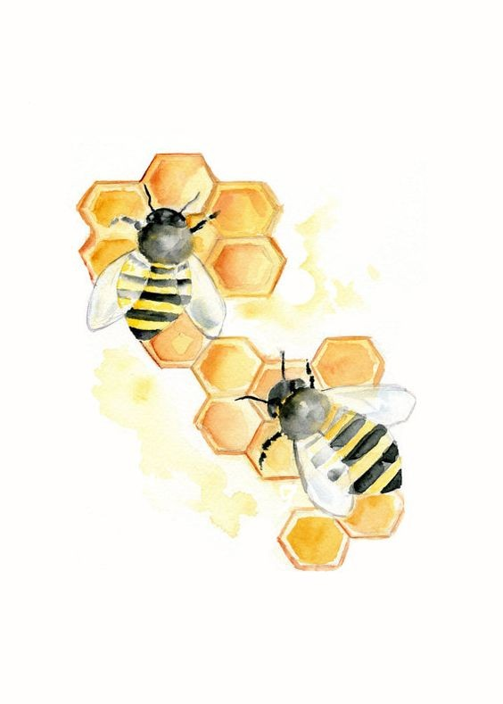 Two watercolor bees crawling on honeycombs tattoo design