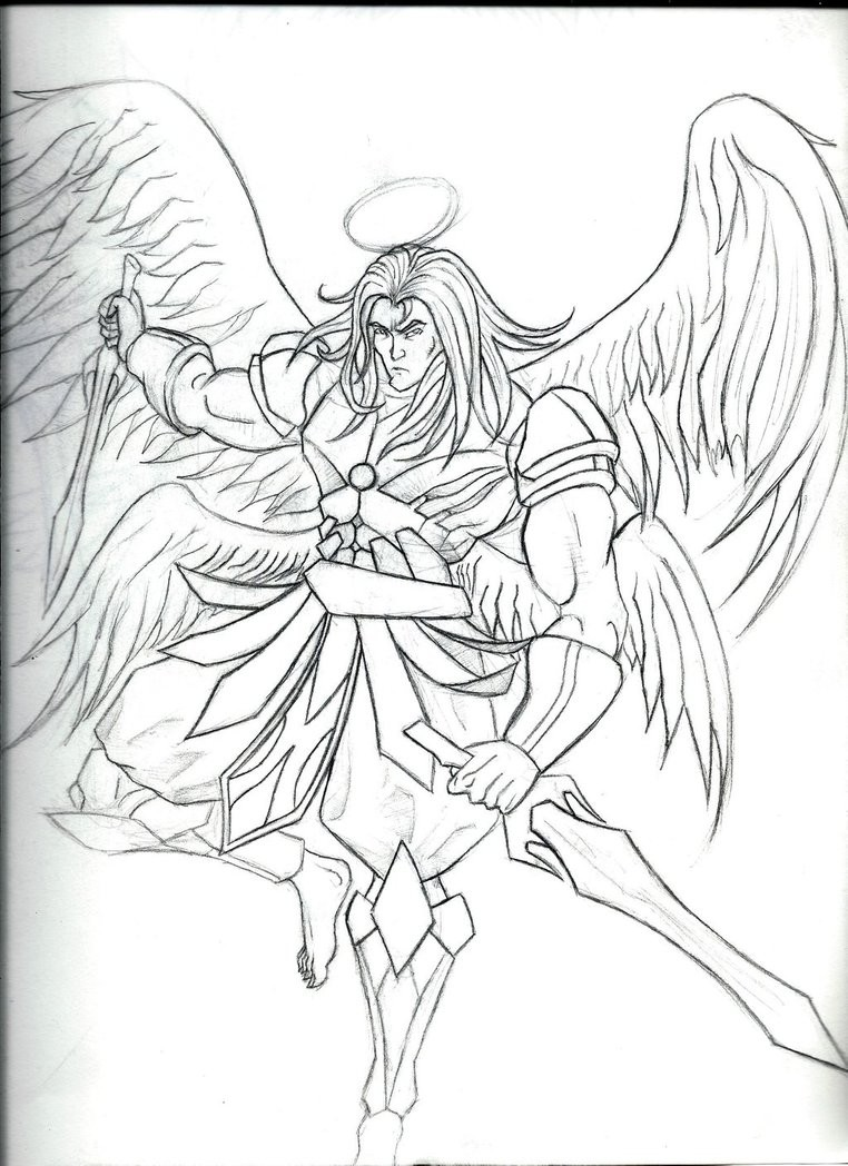 Uncolored angel warrior with sharp swords tattoo design by Armageddon777