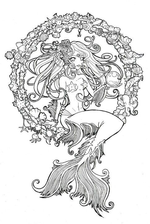 Uncolored animated mermaid sitting on decorated circles tattoo design