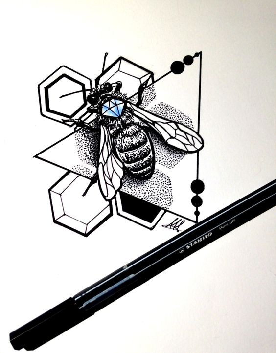 Uncolored bee decorated with blue diamond with geometric elements tattoo design
