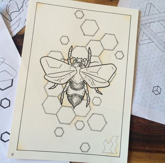 Uncolored bee on dotwork-contour honeycomb background tattoo design