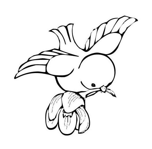 Uncolored bird baby keeping a flower tattoo design