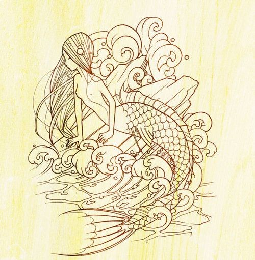Uncolored cartoon mermaid sitting in broken wooden flinders tattoo design