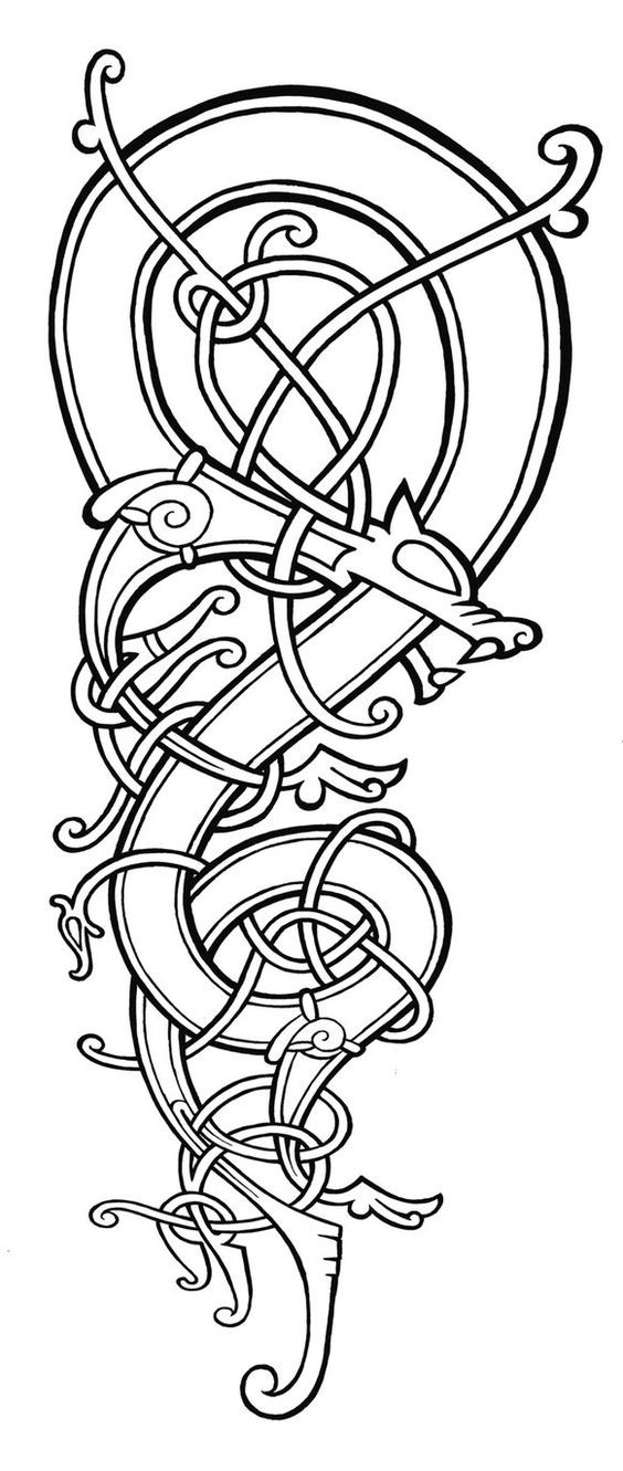Uncolored celtic dragon tattoo design