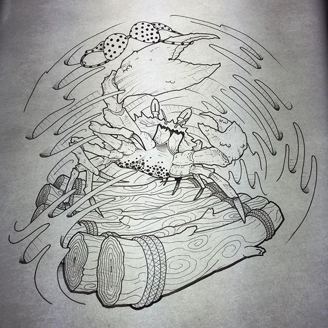 Uncolored crab with bra crawling on wooden bridge in storm tattoo design