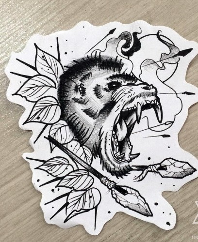 Uncolored crying chimpanzee with leaves and spears tattoo design