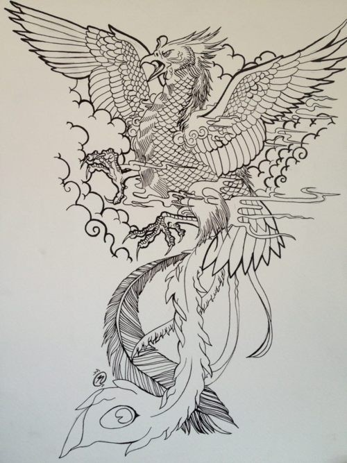 Uncolored crying phoenix warrior in cloudy sky tattoo design