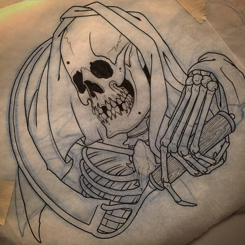 Uncolored death with a wooden roll tattoo design