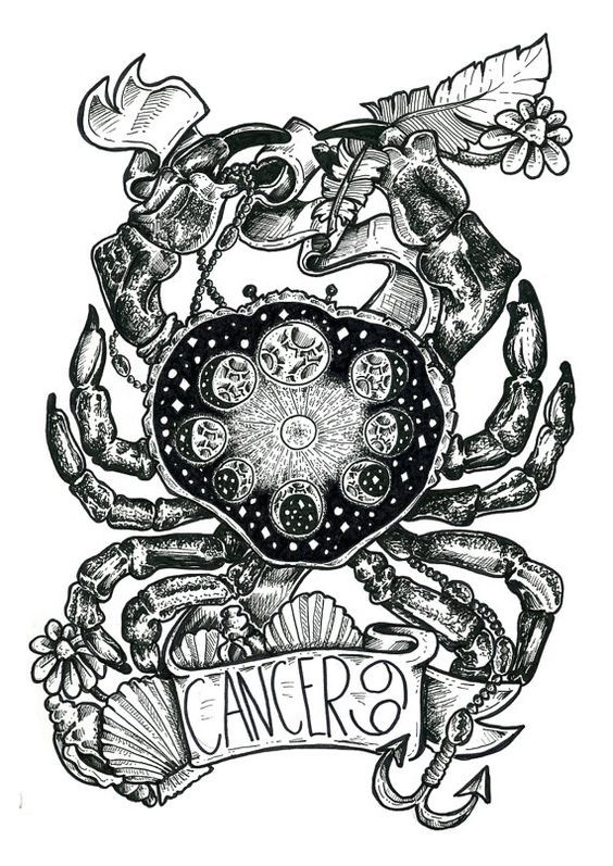 Uncolored detailed crab with moon phase pattern tattoo design