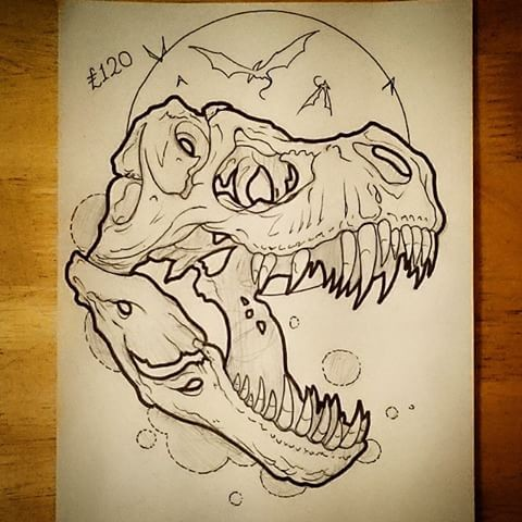 Uncolored dinosaur skull on full moon background tattoo design