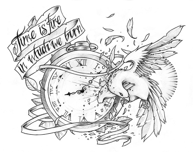 Uncolored dove with pocket clock and quoted ribbon tattoo design