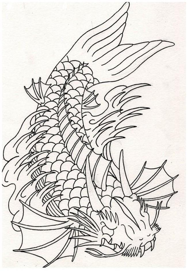 Uncolored dragon fish in flame tattoo design
