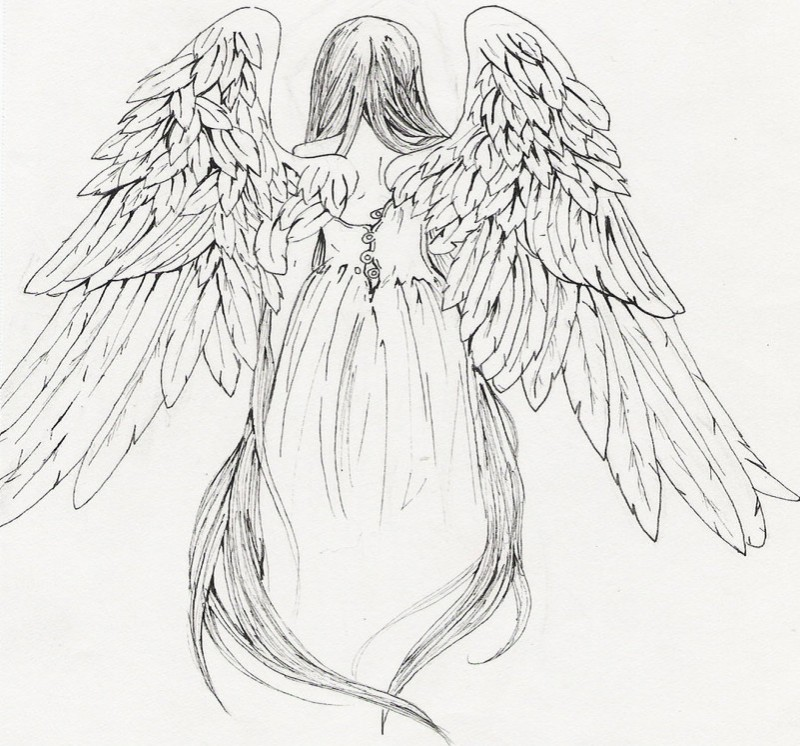 Uncolored dressed female angel from back tattoo design