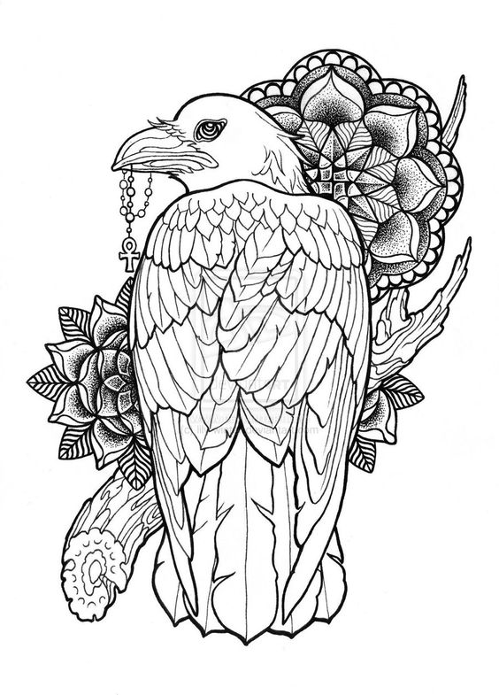 Uncolored eagle keeping a cross with mandala flowers and branch tattoo design