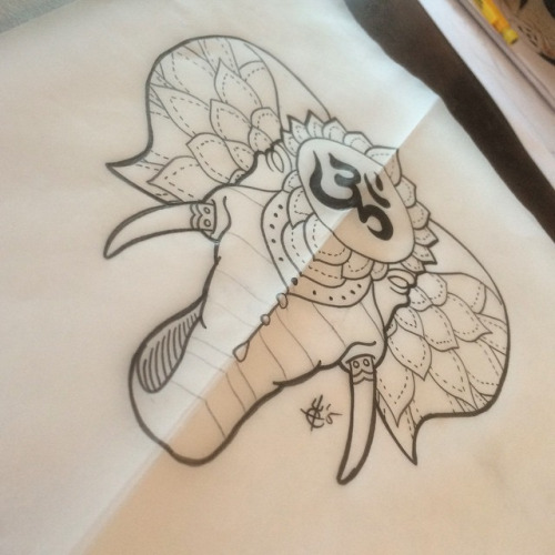 uncolored elephant head with buddhist sign tattoo design. Black Bedroom Furniture Sets. Home Design Ideas
