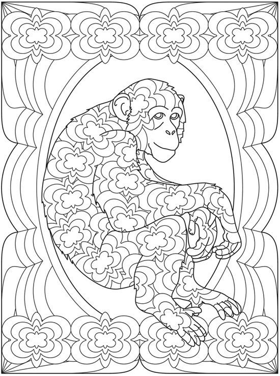 Uncolored floral-patterned sitting monkey tattoo design