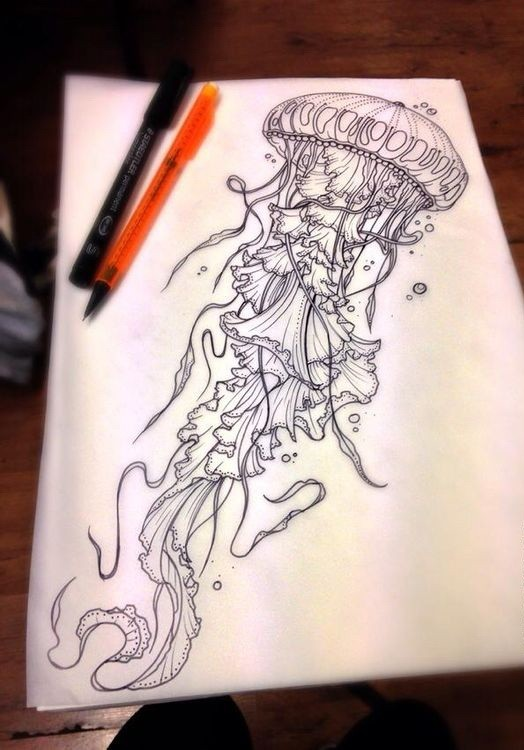 Uncolored fluffy-tentacled jellyfish tattoo design