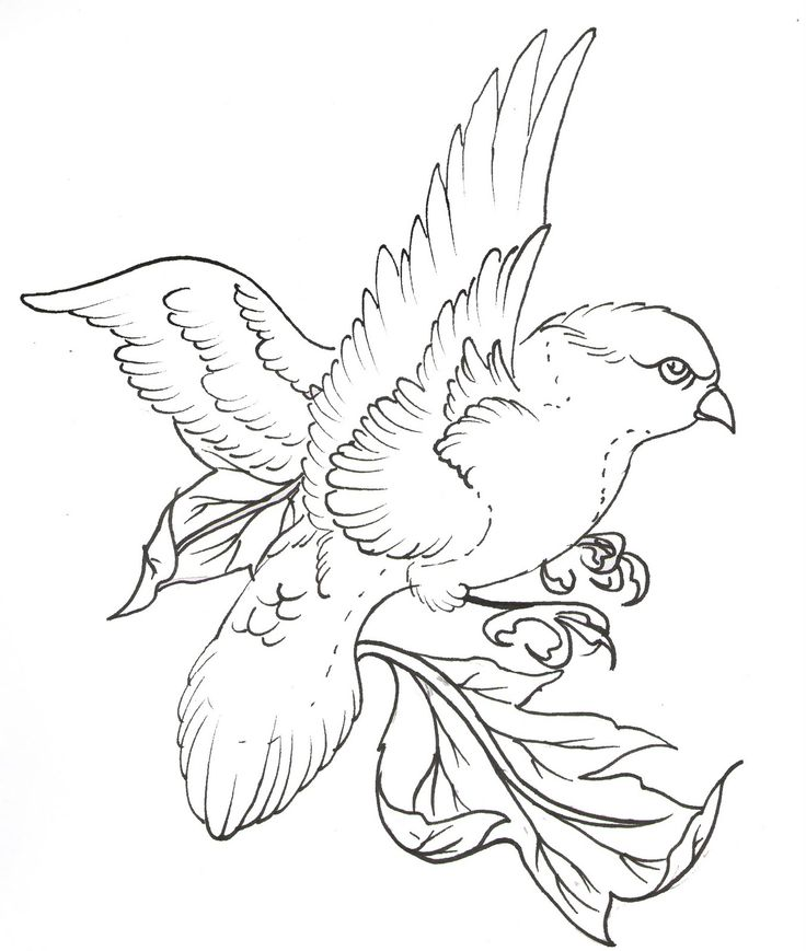 Line Drawing Tattoos London : Uncolored flying bird with leaves tattoo design