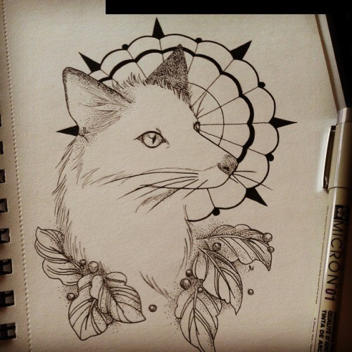 Uncolored fox with leaves and mandala decorations tattoo design