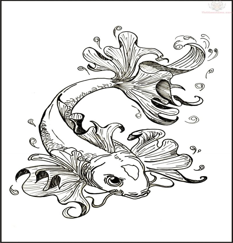 Uncolored gold fish with frill-shaped flippers tattoo design