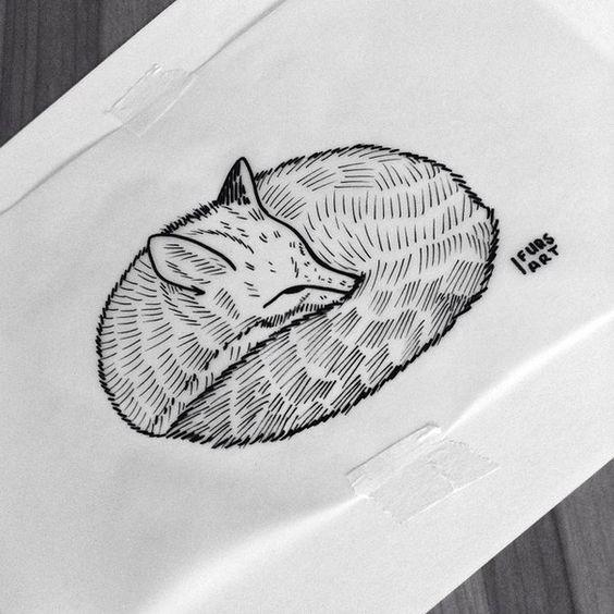 Uncolored grey-ink fox sleeping in curl tattoo design