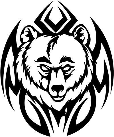 Uncolored grizzly portrait on tribal background tattoo design