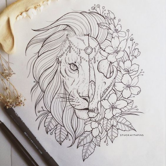uncolored halfskull lion head with flowers tattoo design