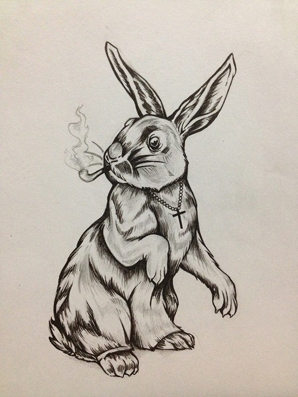 Uncolored hare with rosary smoking a pipe tattoo design