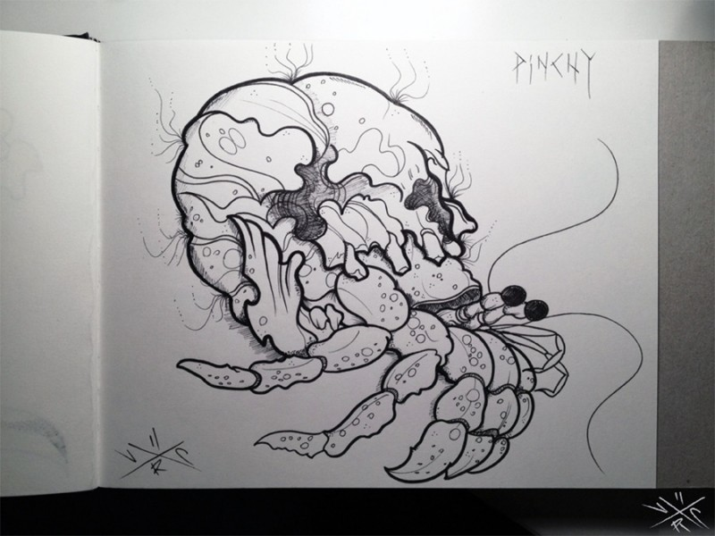 Uncolored hermit crab with skull shell tattoo design