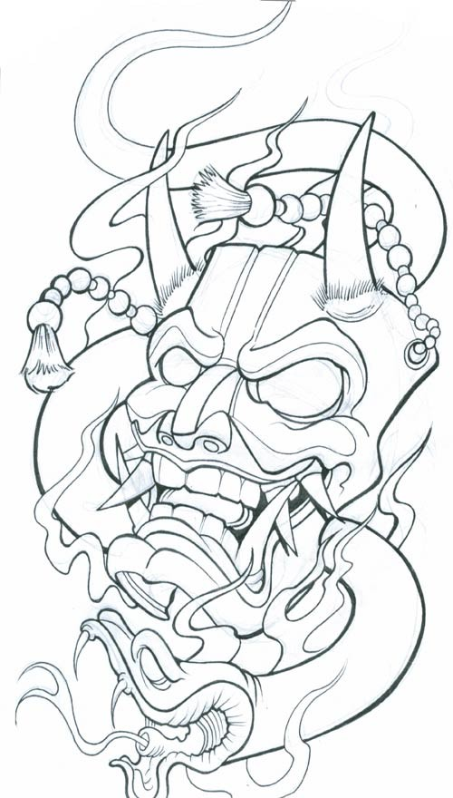 Uncolored horned chinese monster mask and snake tattoo design