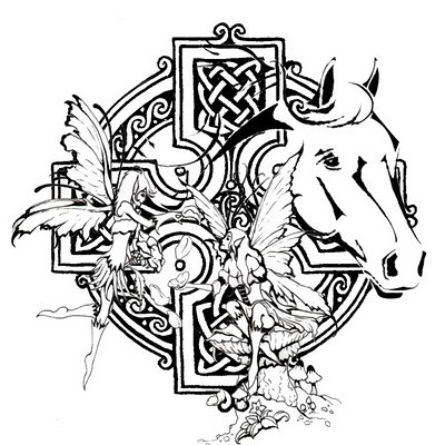 Uncolored horse head with celtic cross and fairies tattoo design