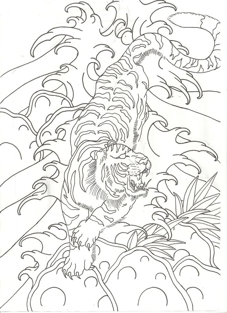 Uncolored Japanese Style Tiger In Water Waves By Lucky Cat Tattoo